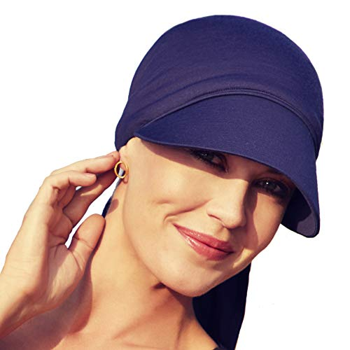 Christine Headwear Gorra oncológica Ultra transpirante Bianca con Visera y Technology 37.5® para Mujeres en Tratamiento con quimioterapia - Azul Oscuro
