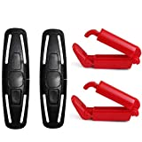 powerer 2 Pack Car Seat Chest Harness Clip and 2 Pack Red Car Seat Safety Belt Clip Buckle...