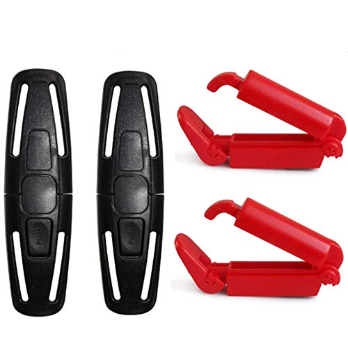 APZDFGIFCD 2 Pack Car Seat Chest Harness Clip and 2 Pack Red Car Seat Safety Belt Clip Buckle for Baby Safety Universal Replacement for Baby and Kids Trend, Adjustable Guard