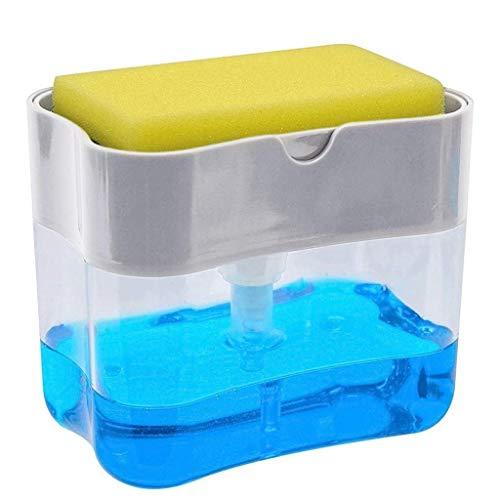MWyanlan Estante de Esponja Dispensador de jabón Carro Bomba Soporte de Esponja Fregadero de Cocina Encimera Dispensador jabón líquido Sostiene y almacena Esponjas Depuradores- Multicolor -1