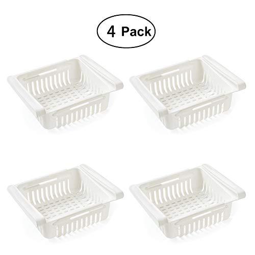 HTWY Frigoríficos Organizadores de Cajones - Caja de Almacenamiento del Refrigerador Mantenga el Refrigerador Ordenado Estante Soporte Contenedor de Alimentos Cestas (4 Pack),White