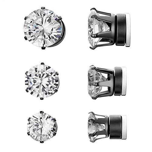 Pendientes de botón de acero inoxidable para hombres y mujeres Pendientes de imán redondos unisex sin perforación Joyas de moda 2020-Negro-6mm, China