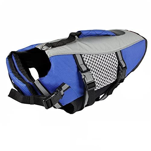Q-YR Chaleco Salvavidas para Perros Ropa para Mascotas Al Aire Libre De Verano Alto Visibilidad Suministros De Natación para Grandes, Medianos, Cachorros Pequeños,Azul,XL