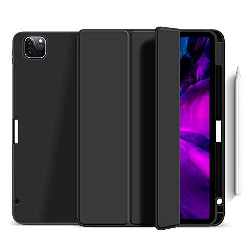 Case for Ipad Pro 11' 2020 with Pencil Holder, Soft Flexible TPU Back Cover, Auto Sleep/Wake, Multiple Viewing Stand for Ipad Pro 11 2020,Black