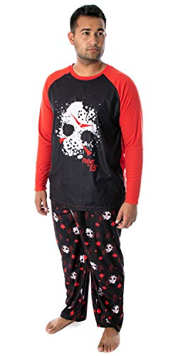 Friday The 13th Men's Jason Hockey Mask Raglan Shirt and Pants 2 Piece Pajama Set (3XL)