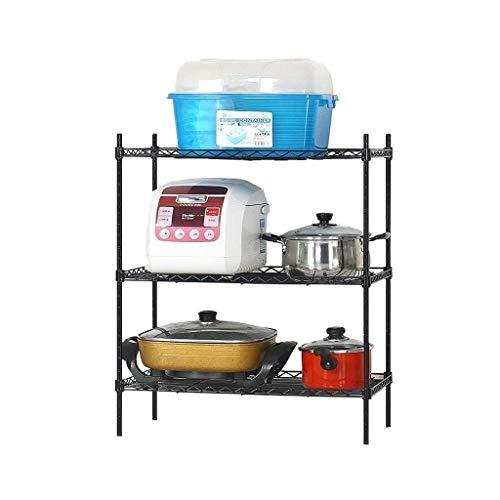 3-Tier Küchenzubehör Rack-Mikrowelle Storage Rack Oven Strong Netz Metalldraht Metallregale Freistehendes Rackwagen, Schwarz (Größe: S) (Size : Large)