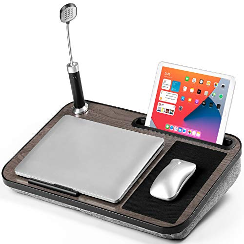 """HUANUO Laptop Tray with Cushion, Portable with a Removable LED Light, Built-in Mouse Pad, Phone & Tablet Holder, for Notebooks up to 13''-17"""""""