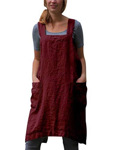 SAMGU Vestido De Delantal Casual para Mujer Vestido De Lino con Delantal Cruzado Cuadrado De Lino Trabajo En El Jardín Vino Rojo S