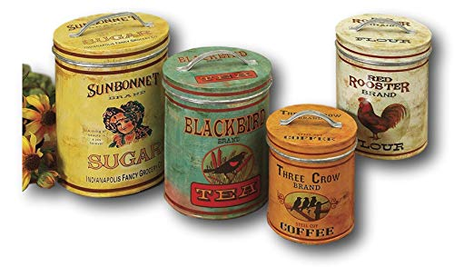 Set of Three Decorative Canisters with Vintage- Inspired Labels