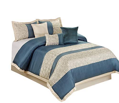 BEDnLINENS 7 Piece Liverpool Jacquard Circle Patchwork Comforter Set (Queen, Blue)