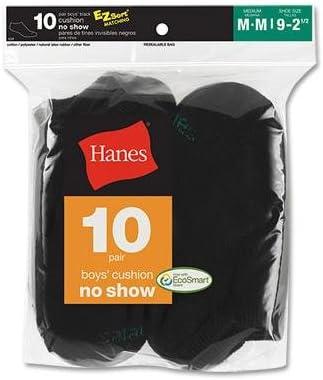 10-Pack Hanes Boys Red Label Cushion No-Show Socks