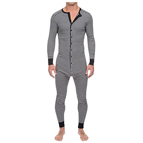 Gestreift Pyjama Hausanzug Langarm Sleepwear Für Männer Winter Einteiler Overall Loungewear Onesie Jumpsuit Strampler Nachtwäsche Schlafoverall Schlafanzug Mit Knöpfen