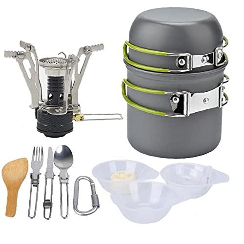 Cocine acampar al aire libre de utensilios de cocina Set portátil estufa ligera mini picnic 1-2 personas para cocinar al aire libre verde accesorios de camping para acampar al aire libre de la