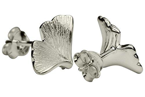 SILBERMOOS Damen Ohrstecker Blatt Ginkgo matt Sterling Silber 925 Ohrringe