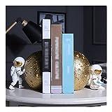 Bookend Supports Bookends Adornos Decorativos Astronauta Libro Termina Termine Almacenamiento Linda Resina Nonskid Bookends for la Oficina de Escritorio de la Oficina de Escritorio (Color : Gold)