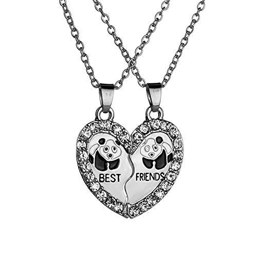 Drawihi Beste Freundinnen Freundinnen Kette Panda Anhänger Halskette Mode Joker Dame Einfach Schmuck (Silber)