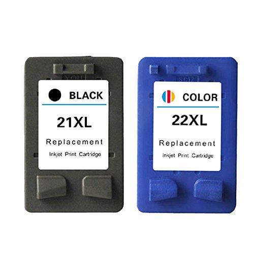 favourall de 2cartuchos de tinta para HP 22XL de Color/HP 21XL Black HP dsek Jet D1360, D1460D2360D24603920, 3940F370Cartuchos