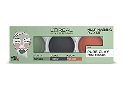 L'Oréal 3 Pure Clays Multi-Masking Face Mask Play Kit, 3 x 10 ml