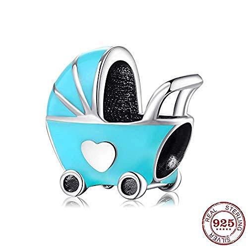 Charm Kralen,Mode Blauw Email Kinderwagen 925 Sterling Zilver Fijne Kralen Passen Originele Bedelarmband Sieraden Maken