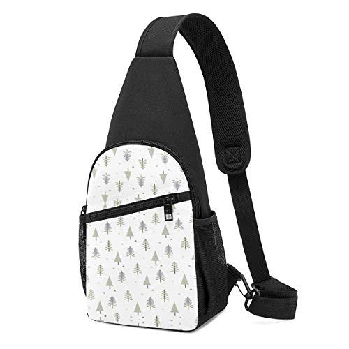 Sling Bolsas para Adolescentes Crossbody Mochila Árboles Hombro Blanco Daypacks Durable Viaje Resistencia a las Arrugas Fanny Pecho Paquetes
