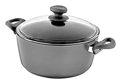 Saflon Titanium Nonstick Stock Pot with Tempered Glass Lid, 4mm Forged Aluminum with PFOA Free Coating from England