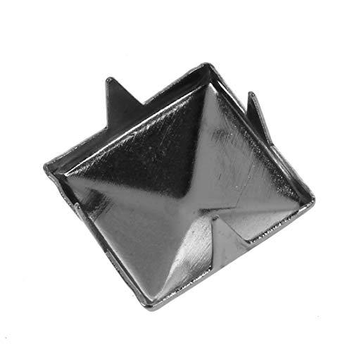 Trimming Shop Pyramid Shaped Nail Head Studs Square Metal Leather Rivets for Leathercraft, DIY Crafts, Clothing, Bags, Purses Embellishment (12mm, Gunmetal Black, 100pcs)