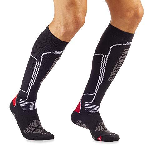 Mico Superthermo skischoenen van Primaloft met merinowol + lycra, 100% Made in Italy, dik met isolatievermogen, unisex voor heren en dames, sportief in de kleur zwart/rood