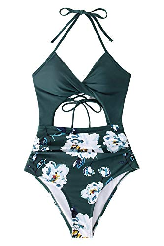 CUPSHE Bañador Mujer Estampado Floral Halter Abertura Traje de Baño, XS