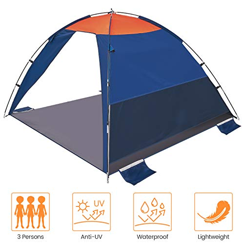 Asteri POP UP Beach Tent 2 Person Anti-UV 50+ Sun shelters Automatic Instant for Indoor Outdoor Beach Picnic Blue/Orange