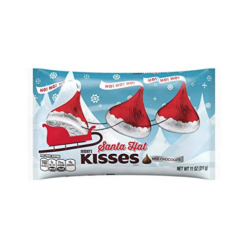 Hershey's Kisses Holiday Milk in Santa Hat Foils, Chocolate, 11 Ounce