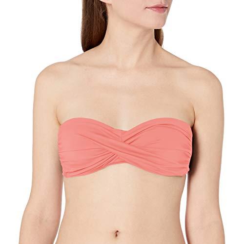 Anne Cole Women's Solid Twist Bandeau Bikini Swim Top, New Coral, Medium