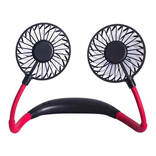 Koojawind USB LED Lumière Rechargeable Neckband Paresseux Cou Suspendu Style Double Ventilateur De Refroidissement Mini Portable Climatiseur Ventilateur pour La Maison en Plein Air Voyage