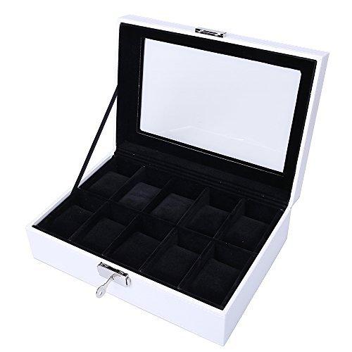 JKC Uhrenkasten für 10 Uhren,Uhrenbox Kunstleder,Edle Uhrenbox Uhrenkoffer Uhrenkasten mit Sichtfenster,Kissen, Schloss (Weiß-Schwarz)