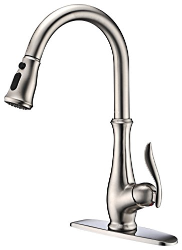 Commercial Single Handle High Arch Brushed Nickel Kitchen Faucets with Pull down Sprayer,...