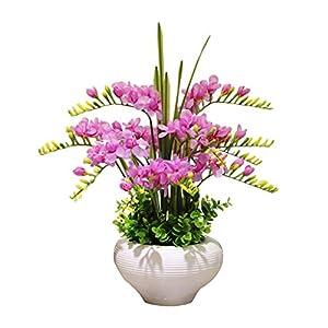 Silk Flower Arrangements Thomm Artificial Flowers with Vase Silk Freesia Fake Flower in Glass Bottle for Living Room Wedding,Corridor