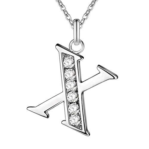 MSYOU Collar de personalidad simple Rhinestone 26 letras colgante estilo elegante aleación clavícula cadena accesorios temperamento señora adolescente chica regalo tamaño 21-50cm (X)