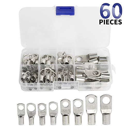 electrapick Rohrkabelschuhe 60 Stücke Verzinntes Kupferklemen Quetschverbinder mit 8 Größe, Kupferbatterieanschlüsse Stecker Kabelschuhe