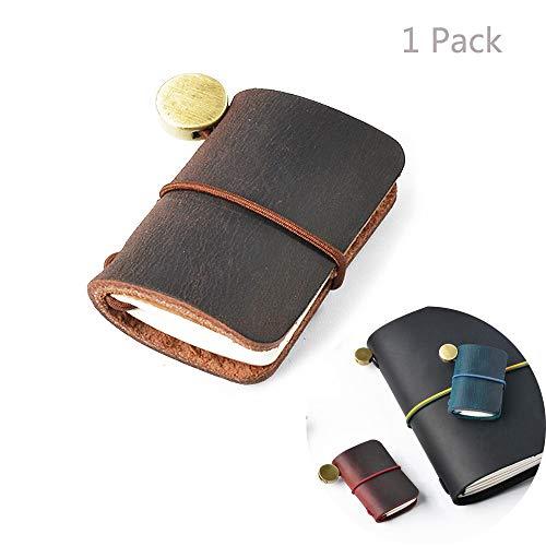 Jurxy Kleines Leder-Reisenden-Notizbuch Nachfüllbares Journal Miniaturnotizbuch für Doll Jahrgang Mini Size Reisende Notizbuch 4,8 cm x 3,2 cm - Dunkelbraun