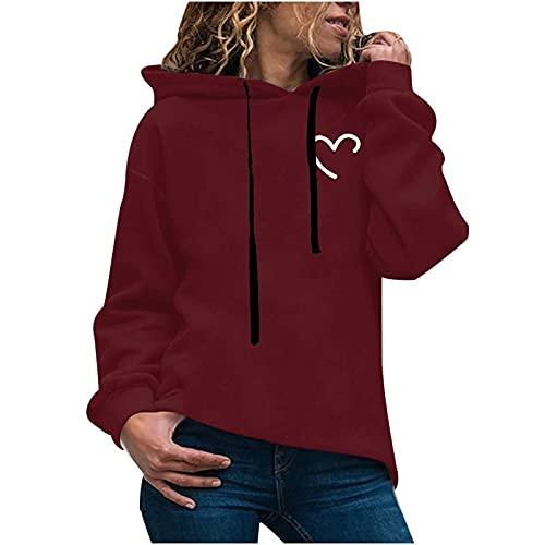 Sudadera con capucha para mujer, de manga larga, con capucha, para otoño e invierno, informal, con estampado de amor, monótono, manga larga, con bolsillo, Vino, XXL