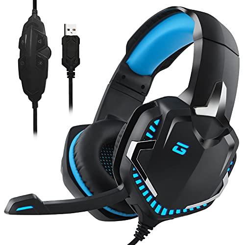 Headset mit mikrofon für PS4 PS5 Xbox One,LarmTek LED Licht Crystal 7.1 Surround Sound Gaming Headset für Laptop, Mac, IOS/Android Device