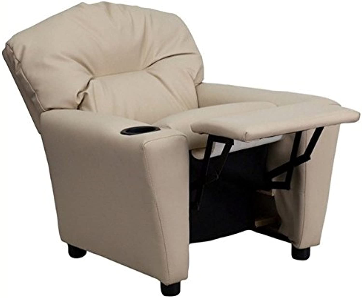 Bowery Hill Kids Recliner in Beige with Cup Holder
