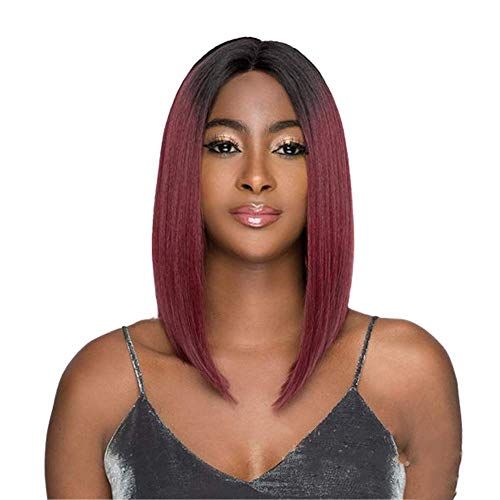 Life Diaries 20%Brazilian Virgin Human Hair+80%Heat Resistant Fibers Red Ombre Dark Root Lace Front Wig 16 Inch Synthetic Short Bob Straight Half Hand Tied Wigs Natural Hairline for Women