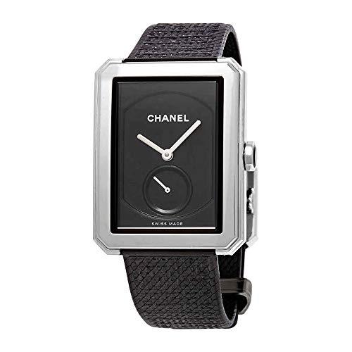 CHANEL boy-friend nero guilloche Dial orologio donna mano ferita H5201
