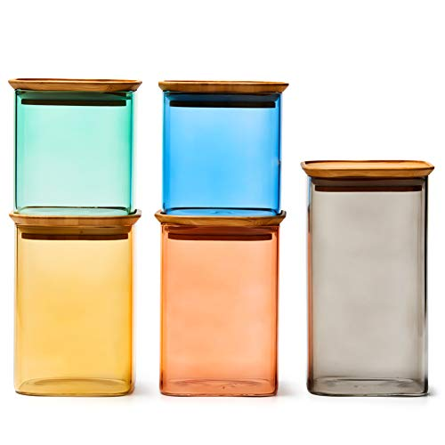 EZOWare Tarros de Almacenamiento Apilables Multi-Colores, Recipientes con Tapa Hermético de Madera Bambu para Conservar Alimentos, Vidrio Borosilicato - 5 Pcs, 700ml / 1000ml / 1300ml