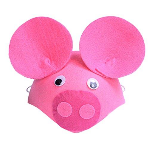 Blancho Set von 2 Schöne [Rosa Piggy] KinderParty Lustige Party-Hüte(15,7 '')