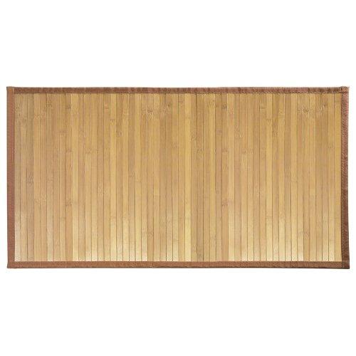 iDesign rutschfeste Fußmatte, extra langer Duschvorleger aus Bambus, wasserabweisender Läufer für Badezimmer, Küche und Flur, hellbraun