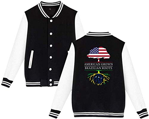 SHIEZZ American Grown with Brazilian Roots Men's Women's Baseball Uniform Jacket Sport Hoodie