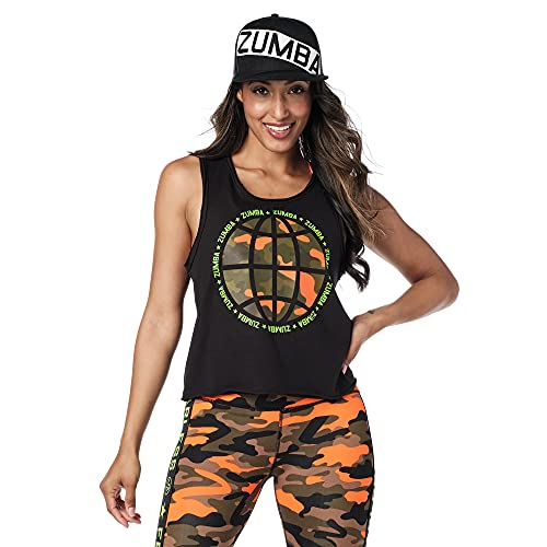 Zumba Activewear Sexy Tops Women Fitness Workout Graphic Print Cropped Tank Top Tanktops, Black Globe, XX-Large Womens