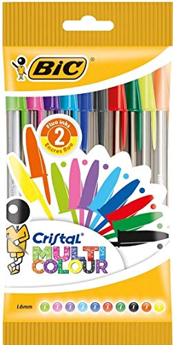 BIC Multicolour Crystal Pens Wide Tip (1,6 mm) - Assorted colors, Blister pack of 10 units