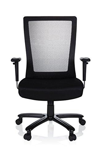 hjh OFFICE 738010 Bürostuhl XXL Extender Stoff Schwarz Drehstuhl bis 180kg belastbar, Netzrücken